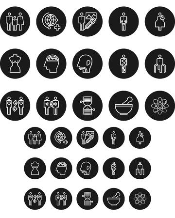 Set of health black and white round icon, vector illustration.