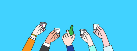 People Hand making toast of soju