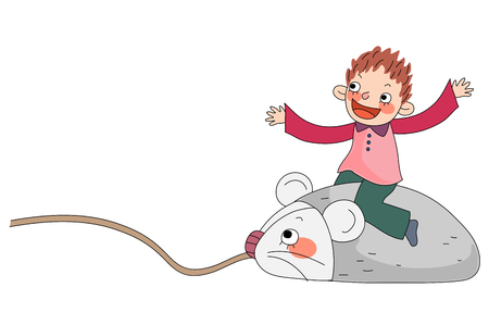 Boy riding on mouse Illustration