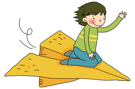 Boy riding on paper airplane
