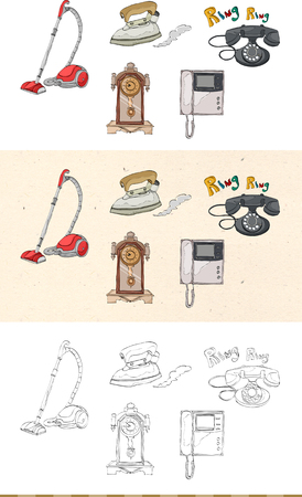 Set of vintage household goods monochromatic and colored icon Ilustracja