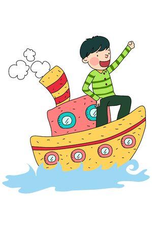Man riding on cruise ship
