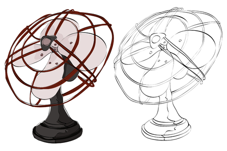 Vintage style hand drawn fan Vectores