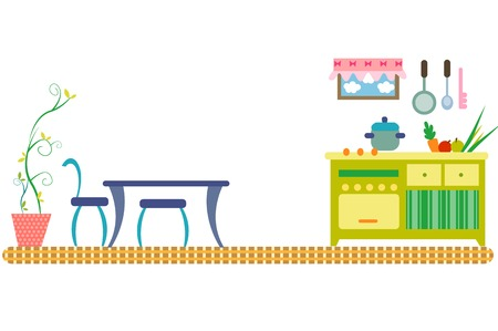 Kitchen with furniture, horizontal design