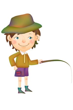 Boy fishing posing Çizim