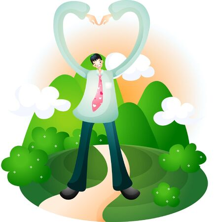 Man making heart with arm on mountain background