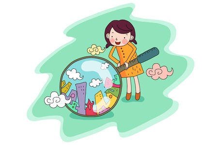 Woman looking city with magnifier
