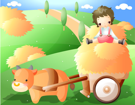 Boy sitting on pasturage with cattle Illustration
