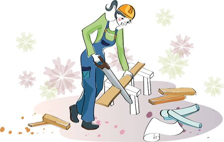 Architecture engineer sawing Illustration