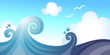 Sea and wave Vector illustration.