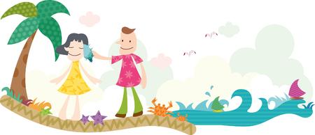 Romantic couple enjoying at beach Illustration