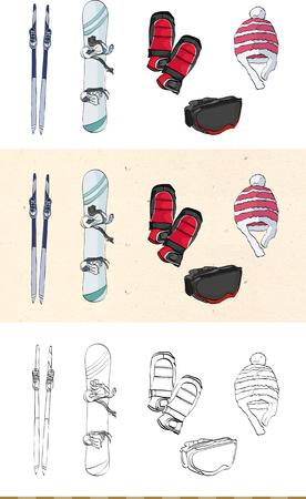 Set van vintage ski monochromatisch en gekleurd pictogram