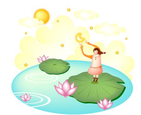 Woman reaching moon on pond
