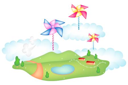 Nature scene of park and pinwheel