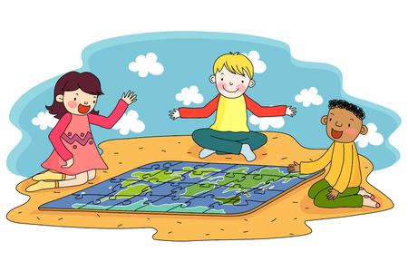 퍼즐을 가지고 노는 아이들 일러스트