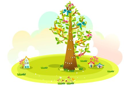 Houses and trees on the green hill Illustration