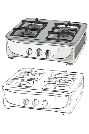 Vintage style hand drawn gas stove