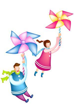 Couple clinging to pinwheel
