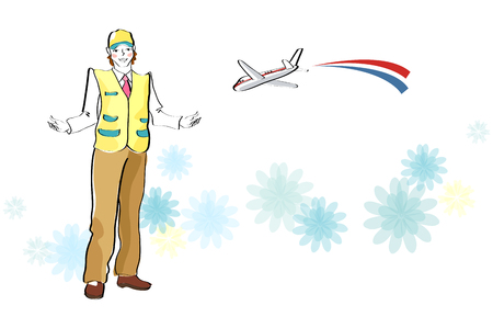 Deliveryman with airplane on flower pattern background Illustration