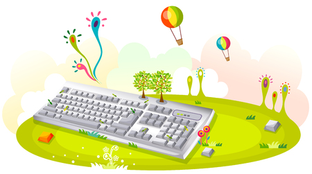 Giant keyboard lying on the green field and hot air balloons flying in the sky