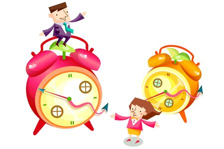 Business people characters and clocks