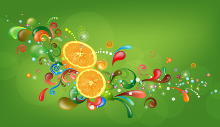 Orange with abstract bubbly pattern