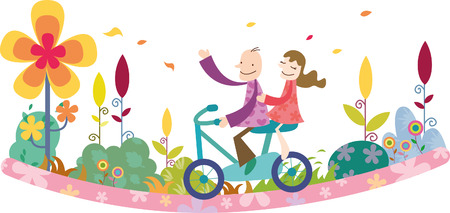 Romantic couple riding bicycle