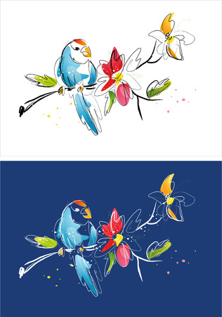 Two version background of flower and bird sketch Illustration