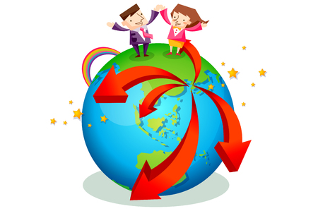 Business people characters standing on the top of a globe with red arrows Illustration