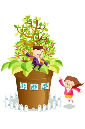 Business people characters with a plant pot house
