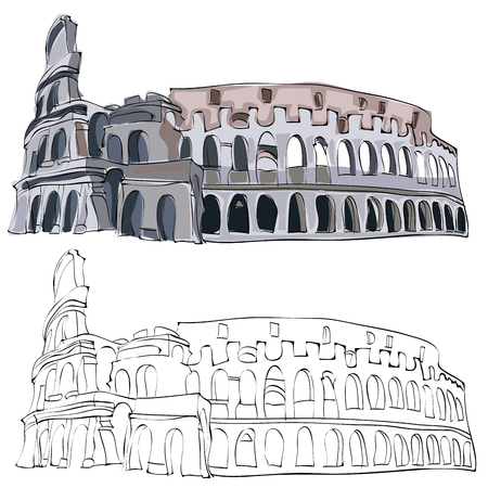 Vintage style hand drawn Colosseum.