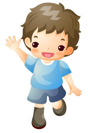 Boy greeting posing