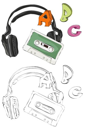 Vintage style hand drawn casette tape, headphone and ABC letters