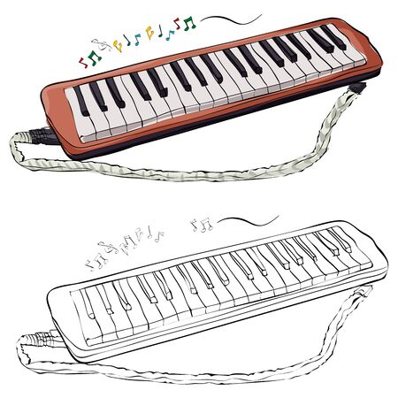 Vintage style hand drawn melodeon.