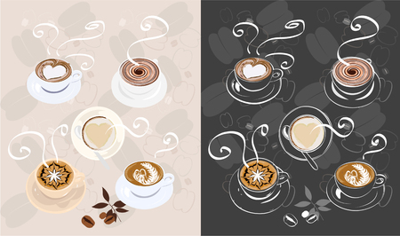 Two version of coffee icon set