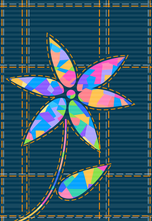 Flower shape with cubism on check background