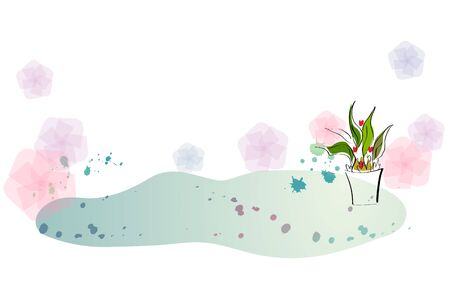 花のパターン、塗料スプラットとプランター