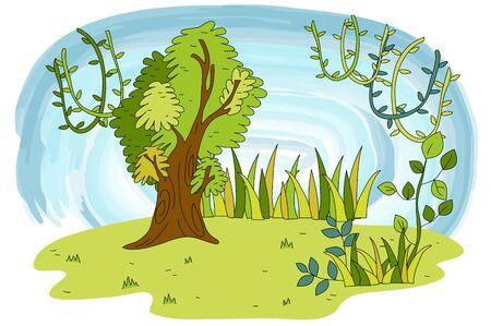 Nature scene of tree and vane Illusztráció