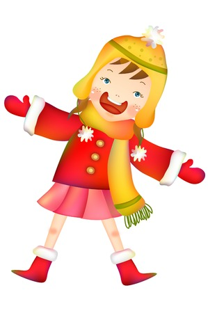 Girl in winter clothing greeting posing Illustration