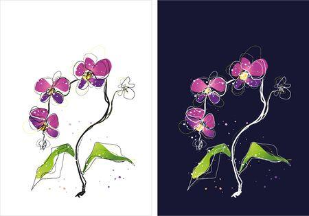 Two version background of flower sketch Illustration