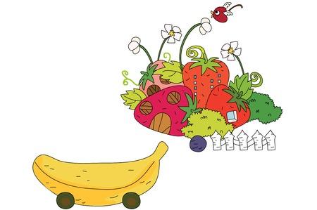 Fruit shape architecture and car Illustration