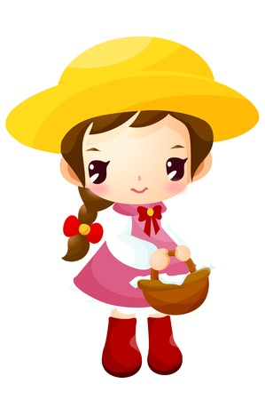 Girl holding basket on tulip garden