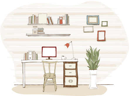 Computer desk illustration Illustration