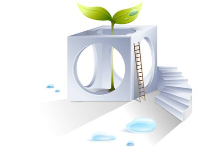 Holed cube with a ladder and sprouts Illustration