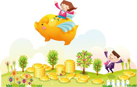 Business couple with piggybank