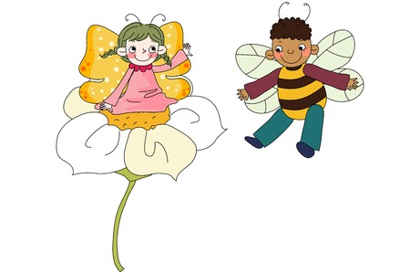 Children in butterfly costume on flower