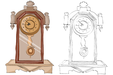 Vintage style hand drawn old style clocks
