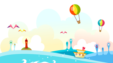 Boats on the sea waves and hot air balloon flying in the sky