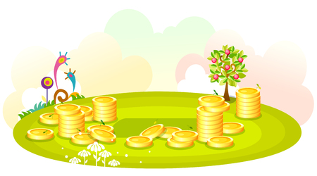 Gold coins stacked on the green hill