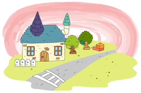 Town village road Illustration